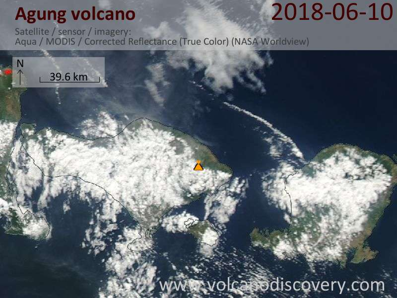 Satellite image of Agung volcano on 10 Jun 2018