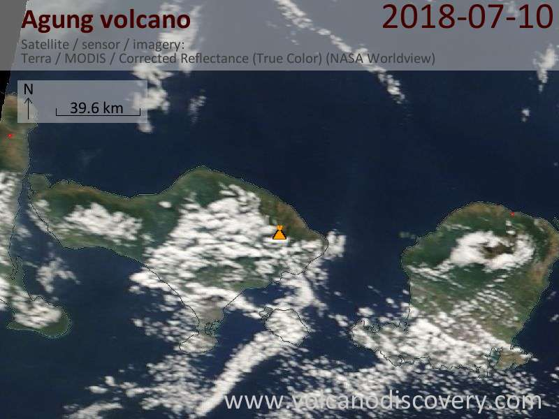 Satellite image of Agung volcano on 10 Jul 2018
