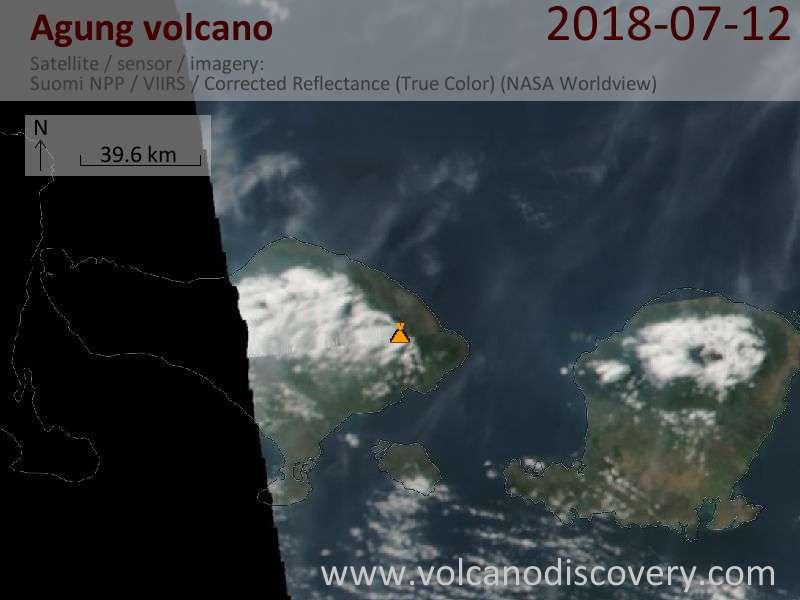 Satellite image of Agung volcano on 12 Jul 2018