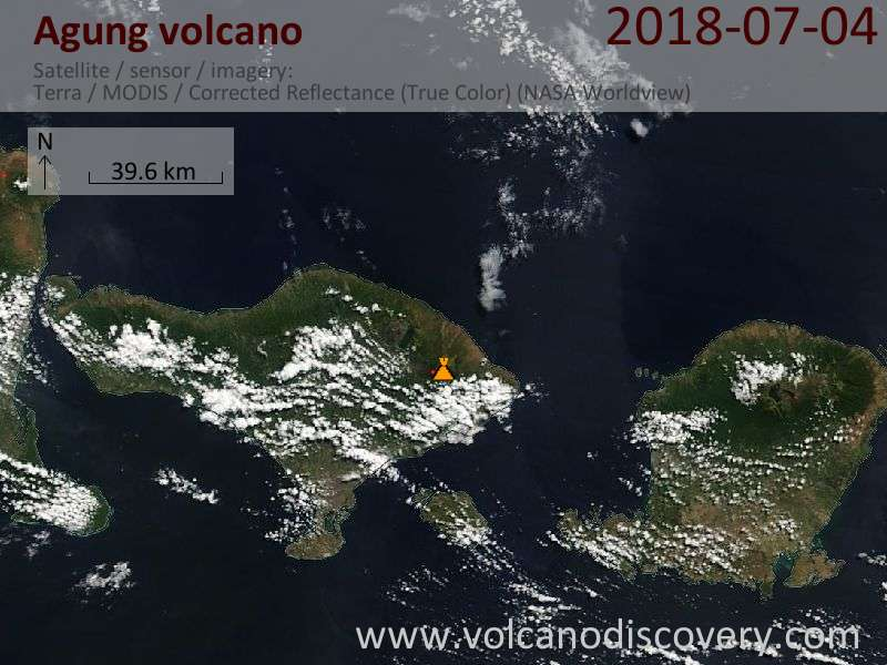 Satellite image of Agung volcano on  4 Jul 2018