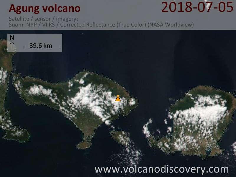 Satellite image of Agung volcano on  5 Jul 2018