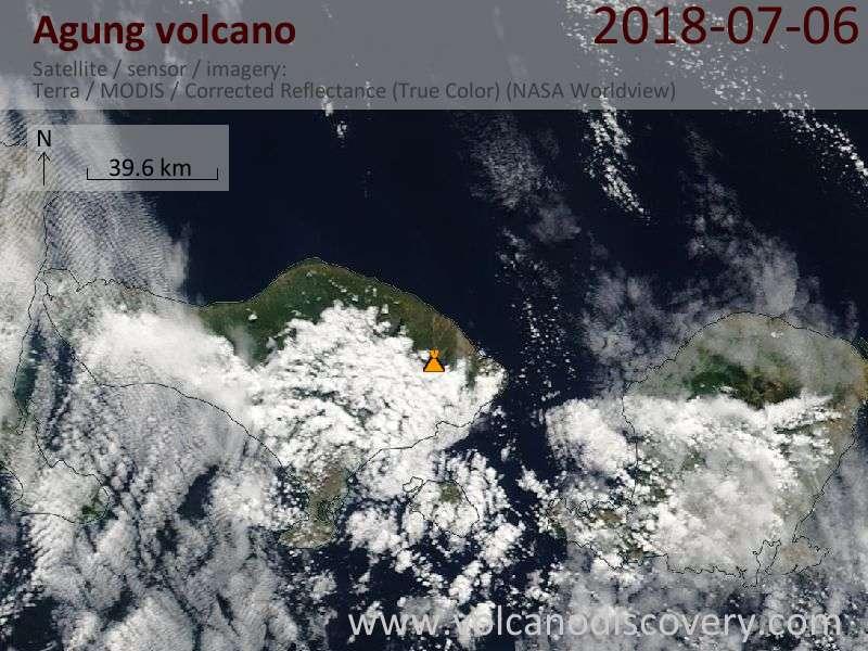 Satellite image of Agung volcano on  6 Jul 2018