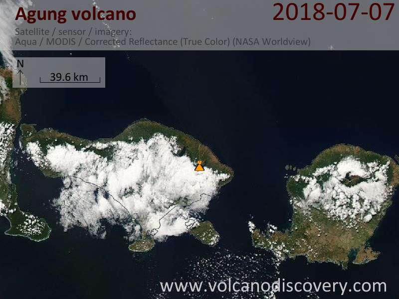 Satellite image of Agung volcano on  8 Jul 2018