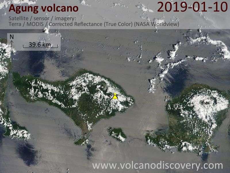 Satellite image of Agung volcano on 10 Jan 2019