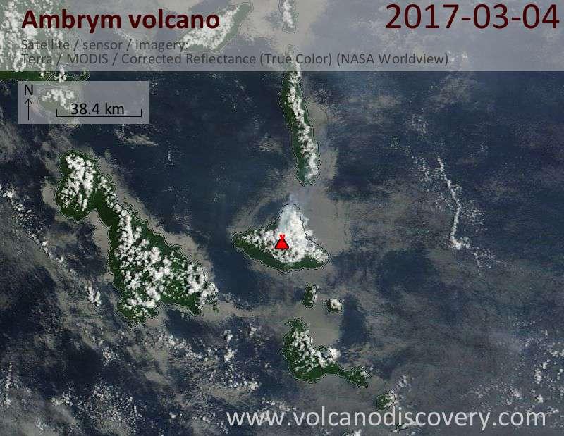 Satellite image of Ambrym volcano on  4 Mar 2017