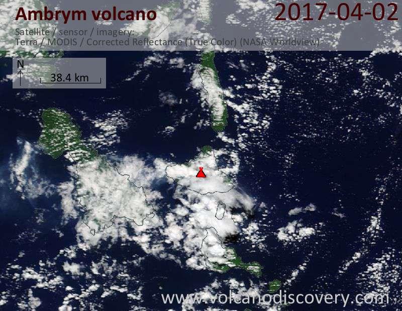 Satellite image of Ambrym volcano on  2 Apr 2017