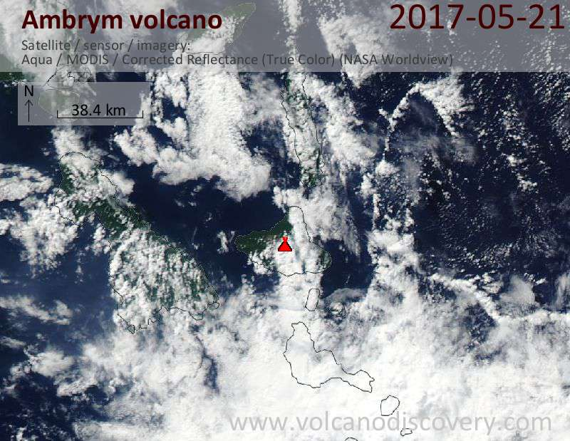 Satellite image of Ambrym volcano on 21 May 2017