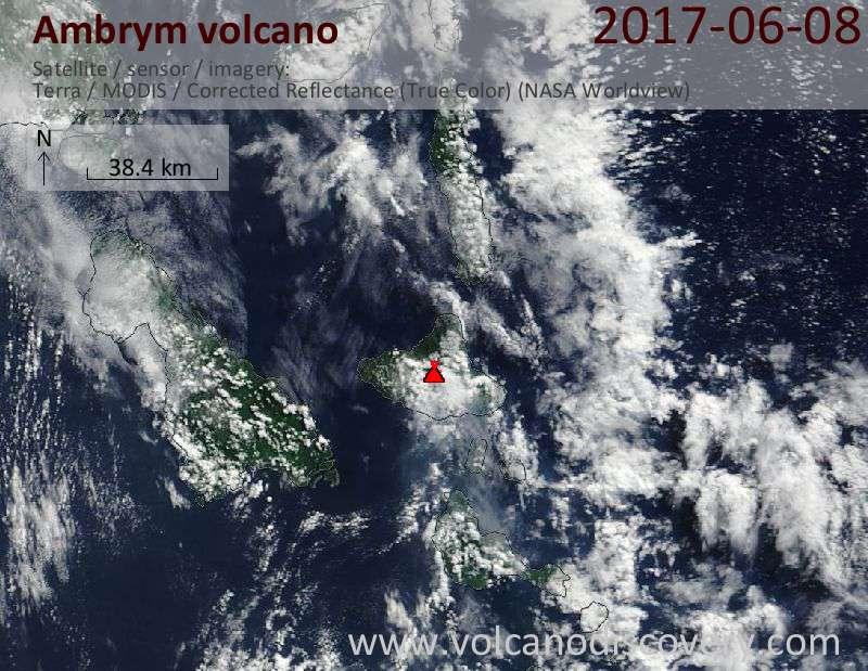 Satellite image of Ambrym volcano on  9 Jun 2017