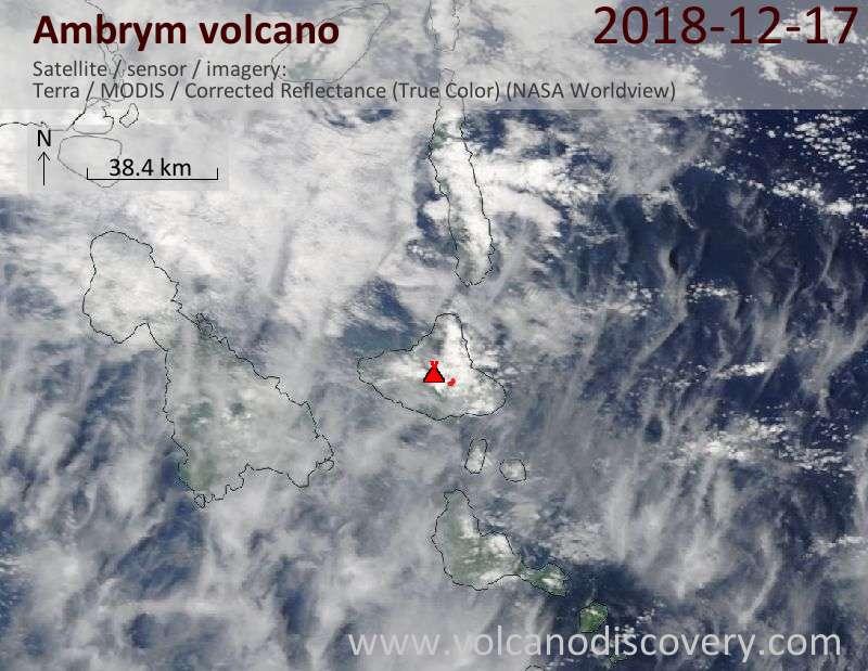 Satellite image of Ambrym volcano on 17 Dec 2018