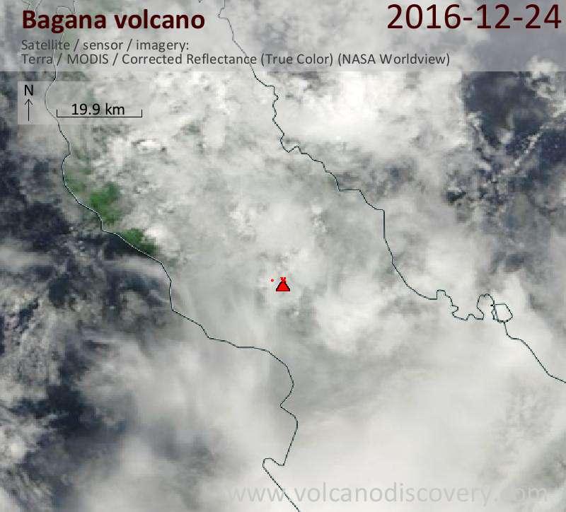 Satellite image of Bagana volcano on 24 Dec 2016