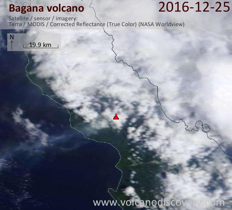 Satellite image of Bagana volcano on 25 Dec 2016