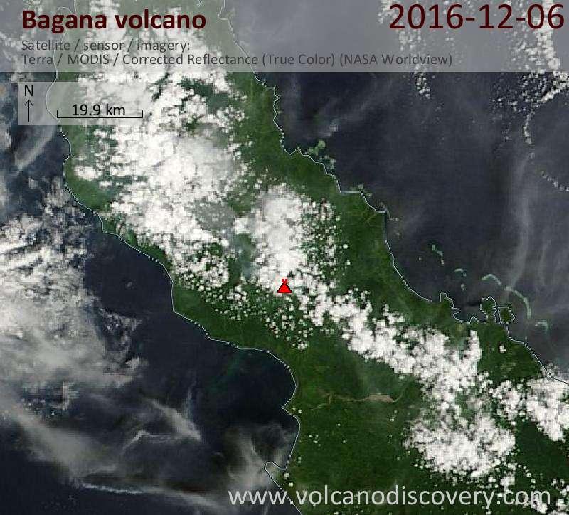 Satellite image of Bagana volcano on  6 Dec 2016