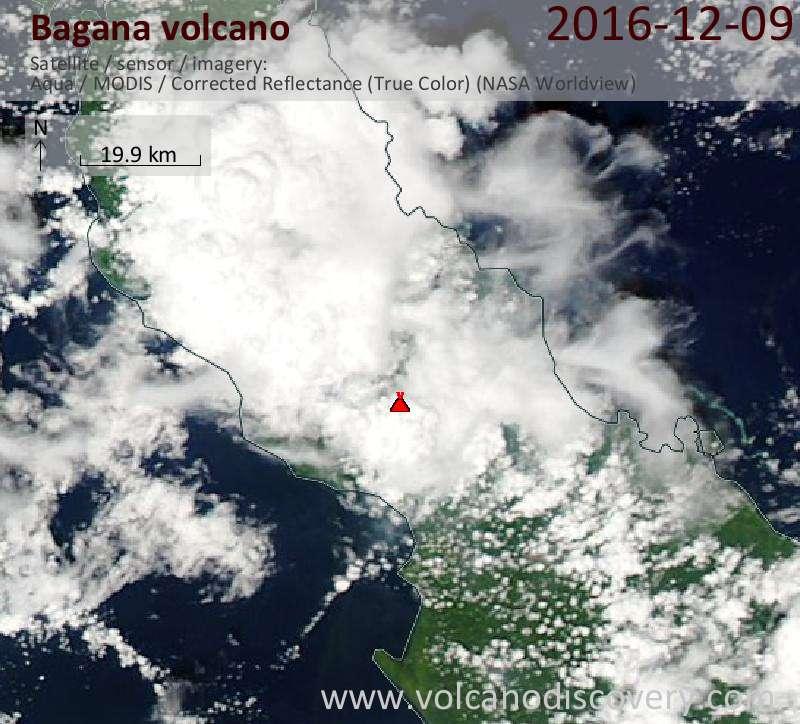Satellite image of Bagana volcano on  9 Dec 2016