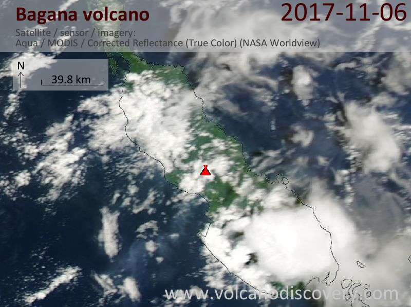 Satellite image of Bagana volcano on  6 Nov 2017