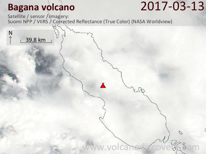 Satellite image of Bagana volcano on 13 Mar 2017