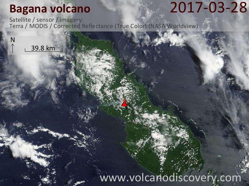 Satellite image of Bagana volcano on 28 Mar 2017