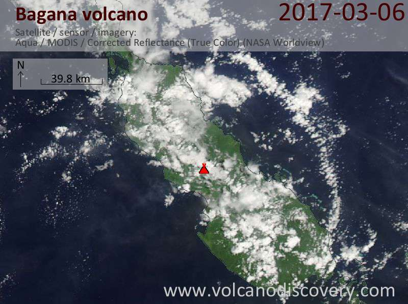 Satellite image of Bagana volcano on  6 Mar 2017