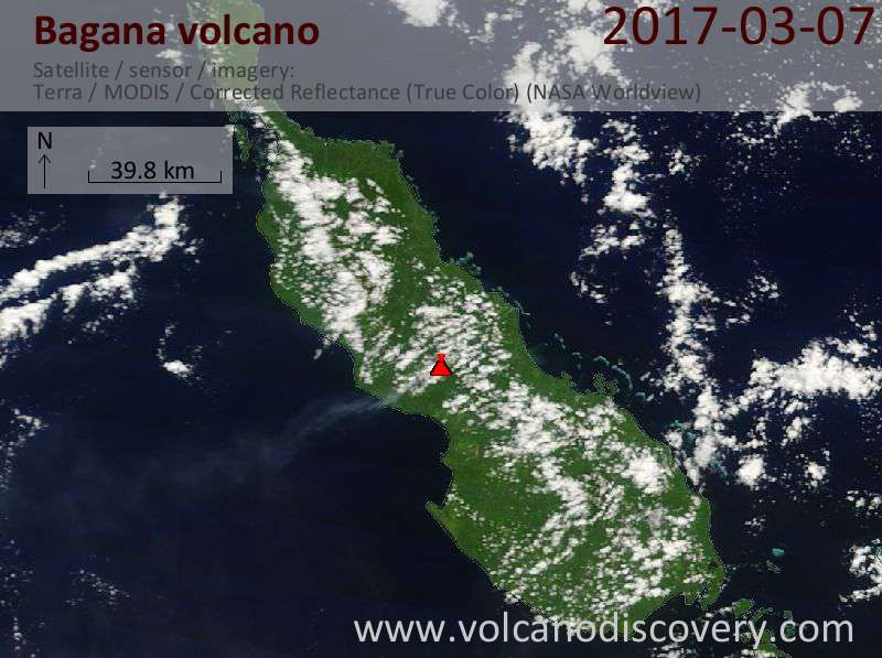 Satellite image of Bagana volcano on  7 Mar 2017