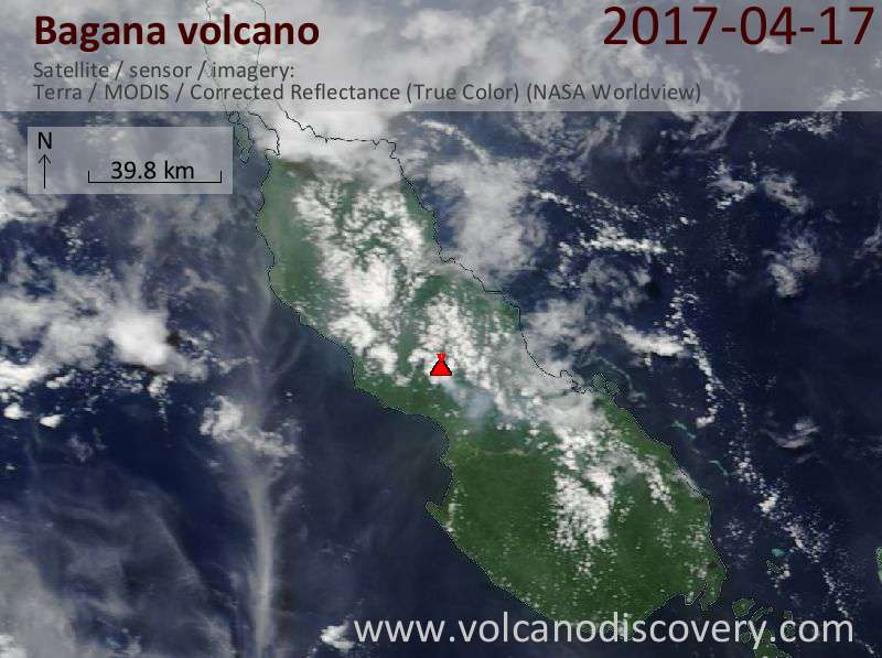 Satellite image of Bagana volcano on 17 Apr 2017