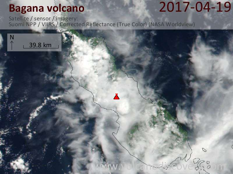 Satellite image of Bagana volcano on 19 Apr 2017