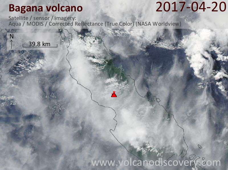 Satellite image of Bagana volcano on 21 Apr 2017