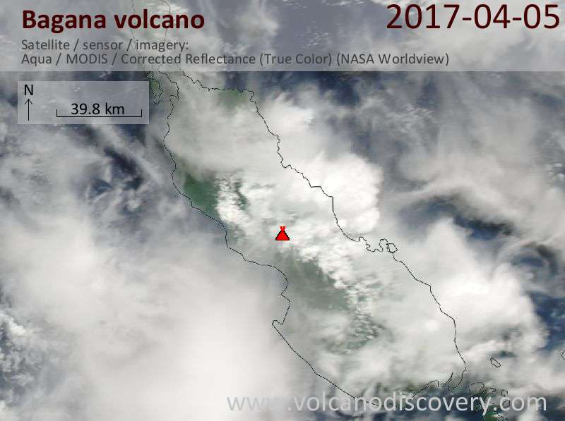 Satellite image of Bagana volcano on  5 Apr 2017