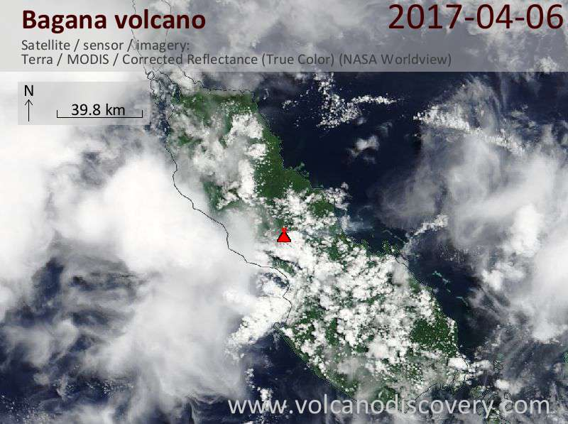 Satellite image of Bagana volcano on  6 Apr 2017