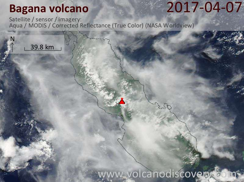 Satellite image of Bagana volcano on  7 Apr 2017