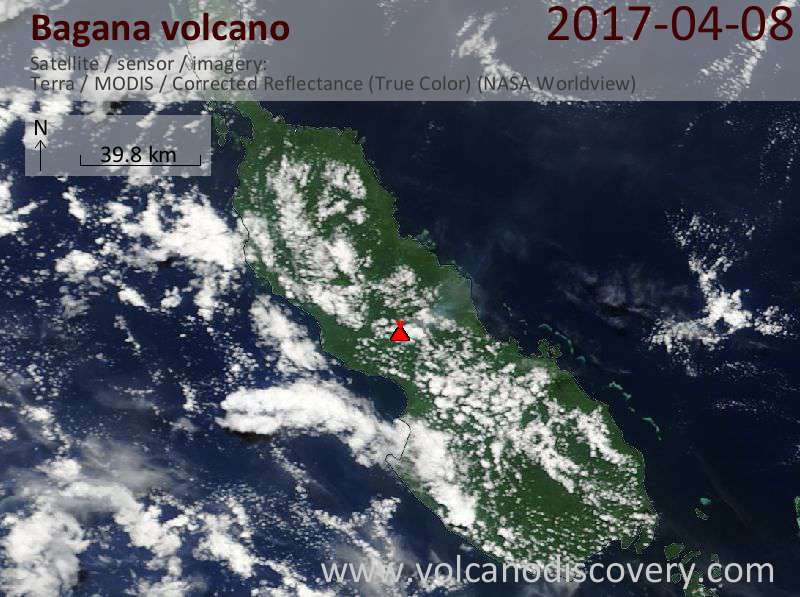 Satellite image of Bagana volcano on  8 Apr 2017