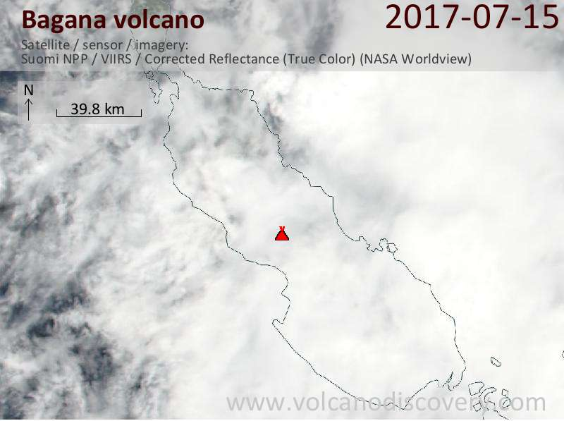 Satellite image of Bagana volcano on 15 Jul 2017