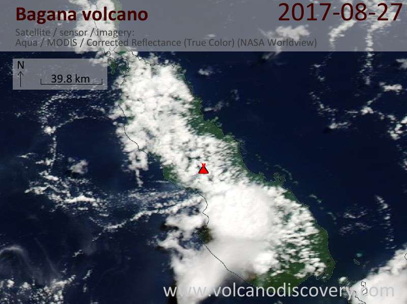 Satellite image of Bagana volcano on 27 Aug 2017