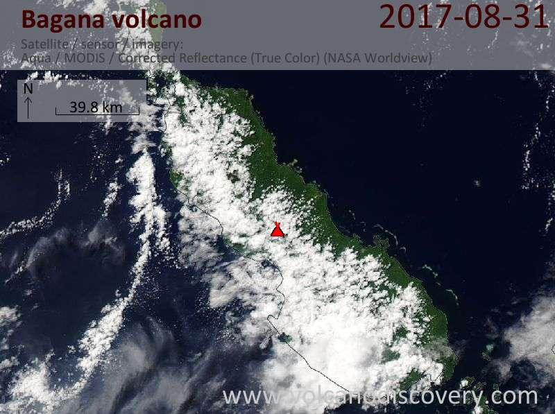 Satellite image of Bagana volcano on 31 Aug 2017