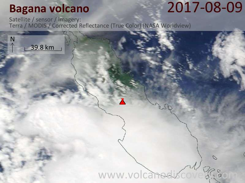 Satellite image of Bagana volcano on  9 Aug 2017