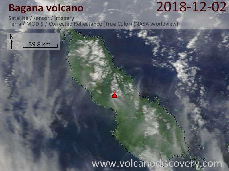 Satellite image of Bagana volcano on  2 Dec 2018