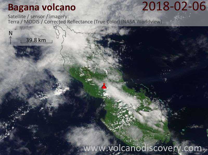 Satellite image of Bagana volcano on  6 Feb 2018