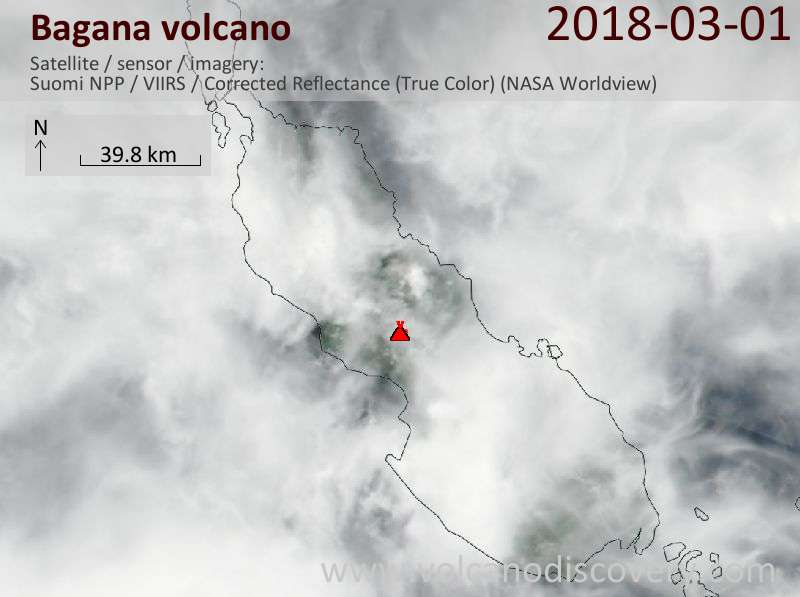 Satellite image of Bagana volcano on  1 Mar 2018