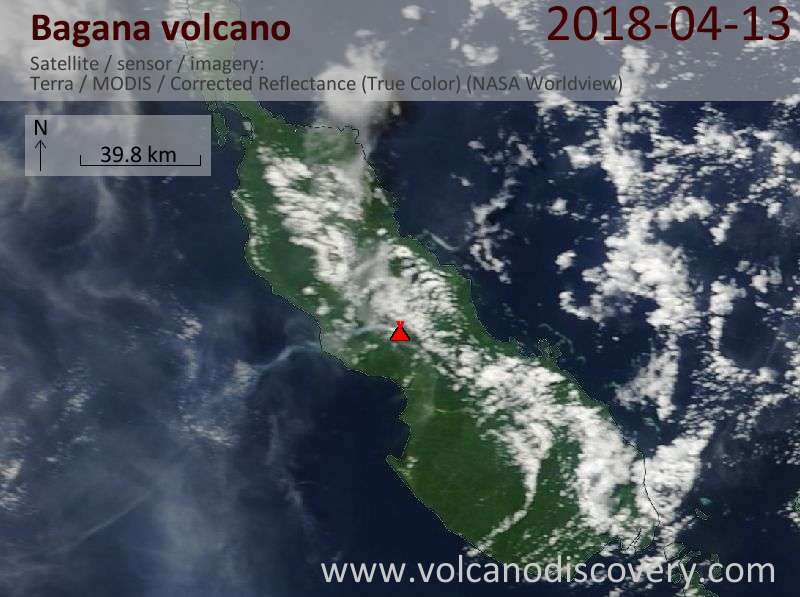 Satellite image of Bagana volcano on 13 Apr 2018