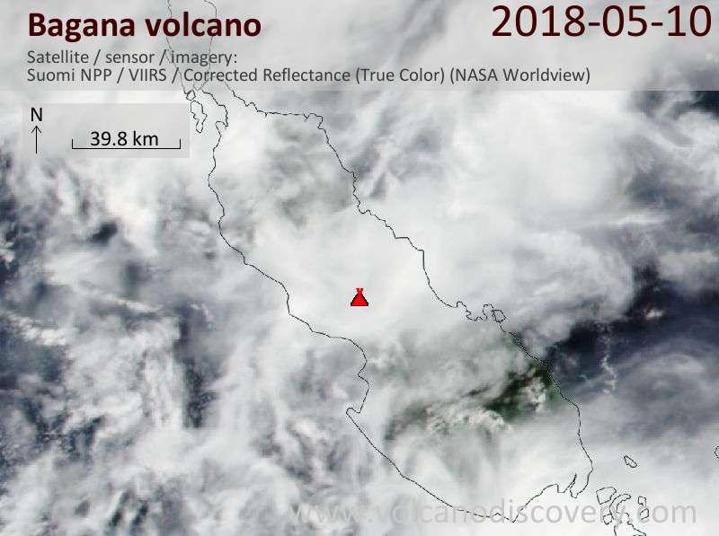 Satellite image of Bagana volcano on 10 May 2018