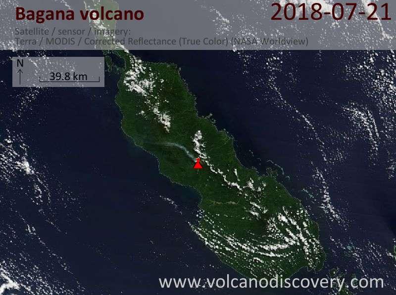 Satellite image of Bagana volcano on 21 Jul 2018