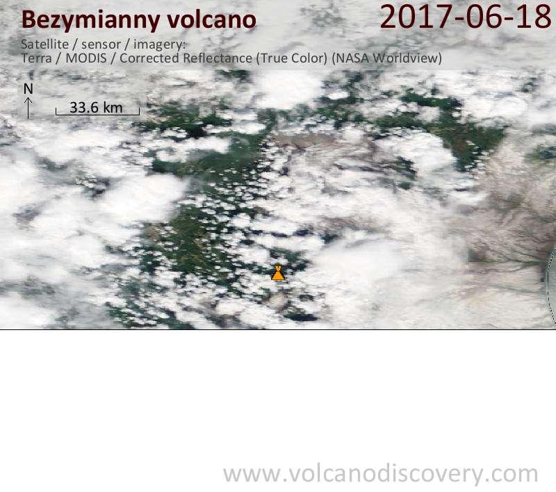 Satellite image of Bezymianny volcano on 18 Jun 2017