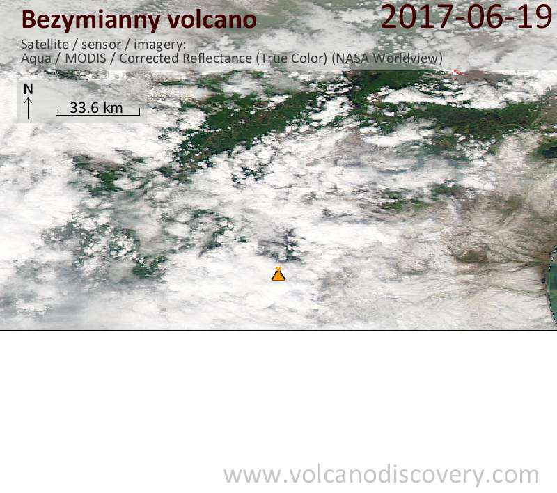 Satellite image of Bezymianny volcano on 19 Jun 2017