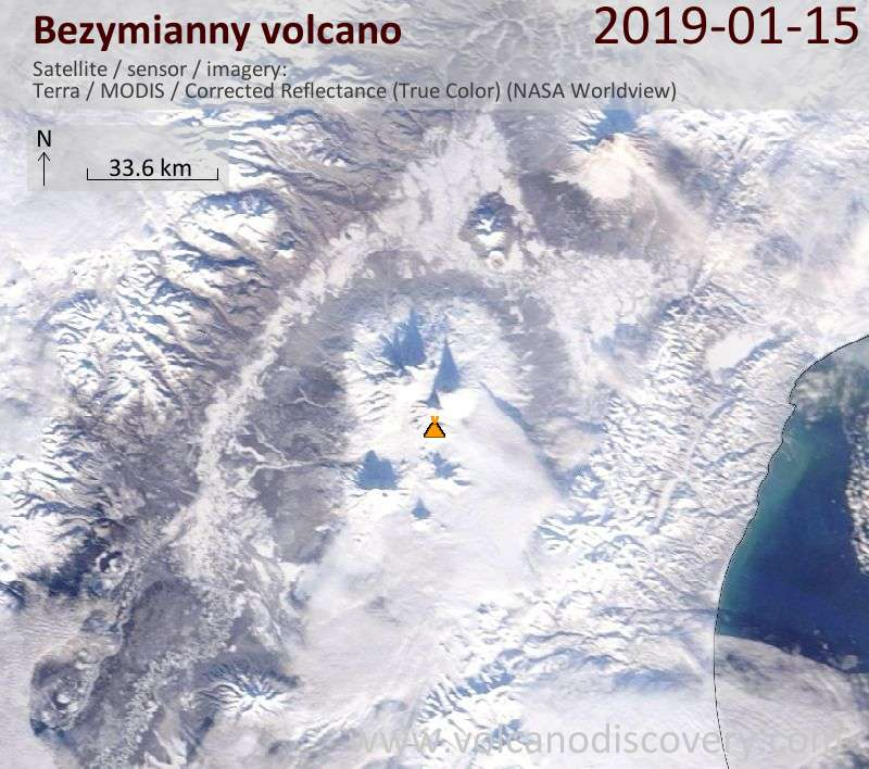 Satellite image of Bezymianny volcano on 15 Jan 2019