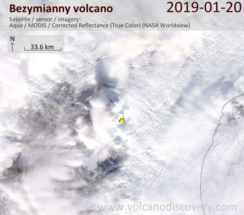 Satellite image of Bezymianny volcano on 20 Jan 2019