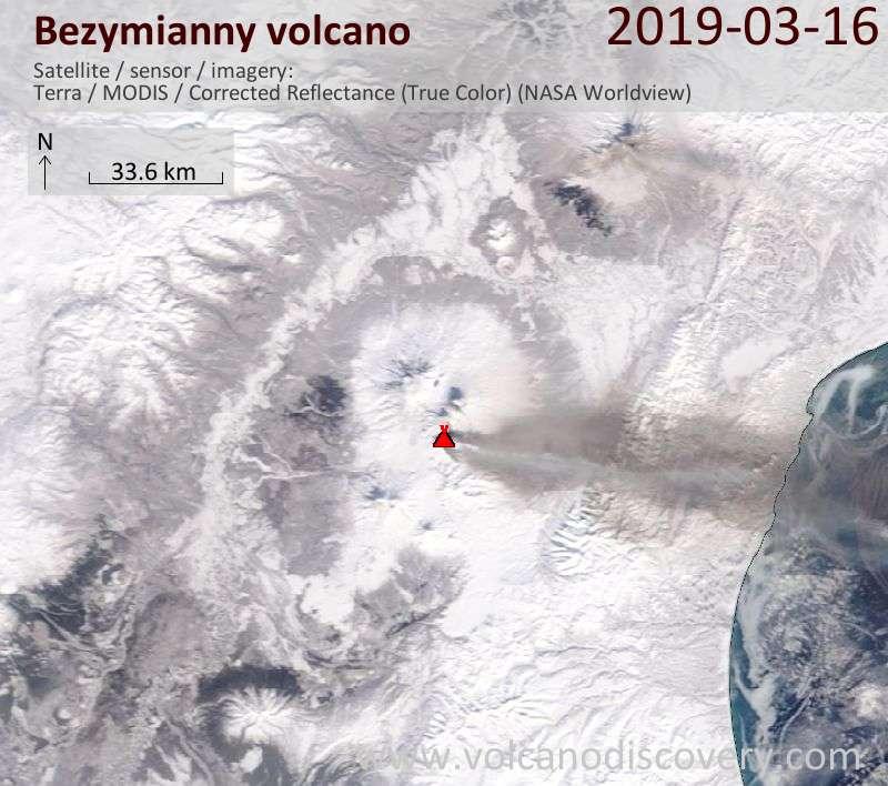 Satellite image of Bezymianny volcano on 16 Mar 2019