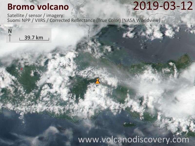 Satellite image of Bromo volcano on 13 Mar 2019