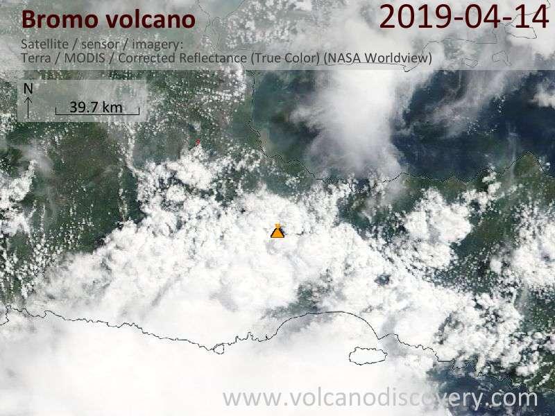 Satellite image of Bromo volcano on 14 Apr 2019