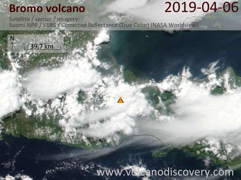Satellite image of Bromo volcano on  6 Apr 2019
