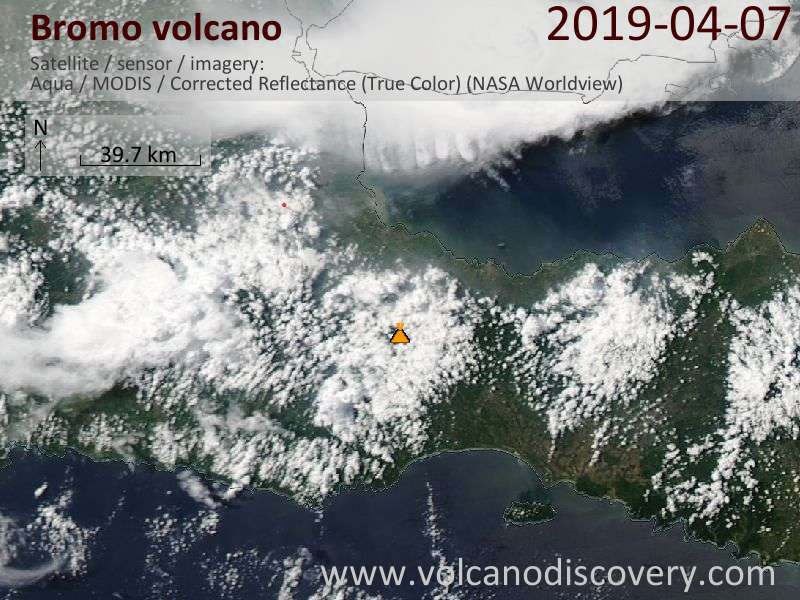 Satellite image of Bromo volcano on  8 Apr 2019