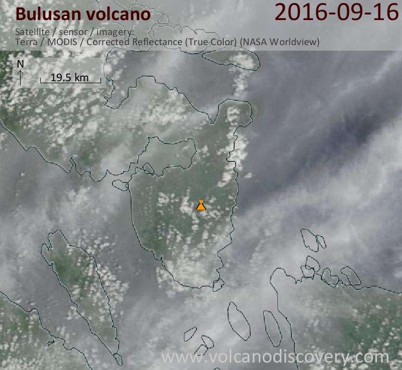 Satellite image of Bulusan volcano on 16 Sep 2016