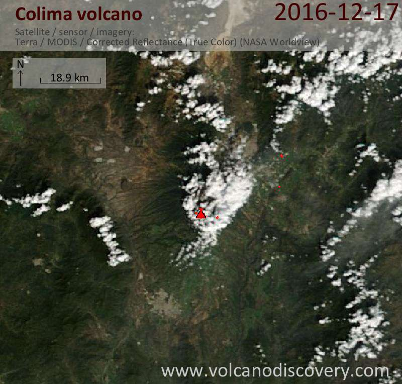 Satellite image of Colima volcano on 17 Dec 2016